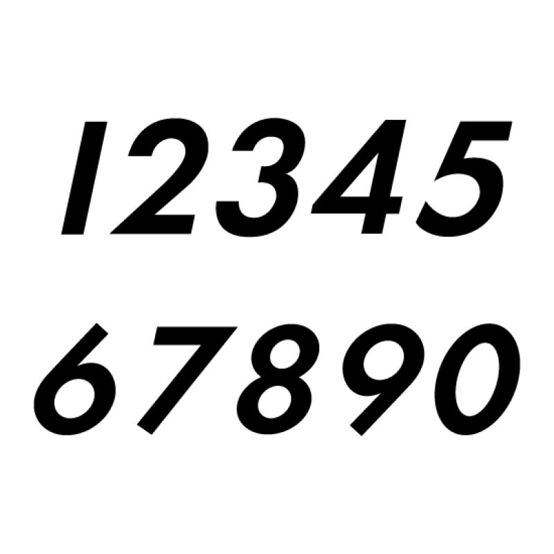 Startnummers Futura Cursief, voor ONK, OW CUP en ZAC